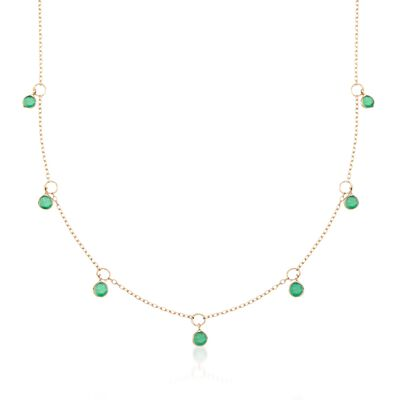 2.25 ct. t.w. Emerald Station Necklace in 14kt Yellow Gold, , default