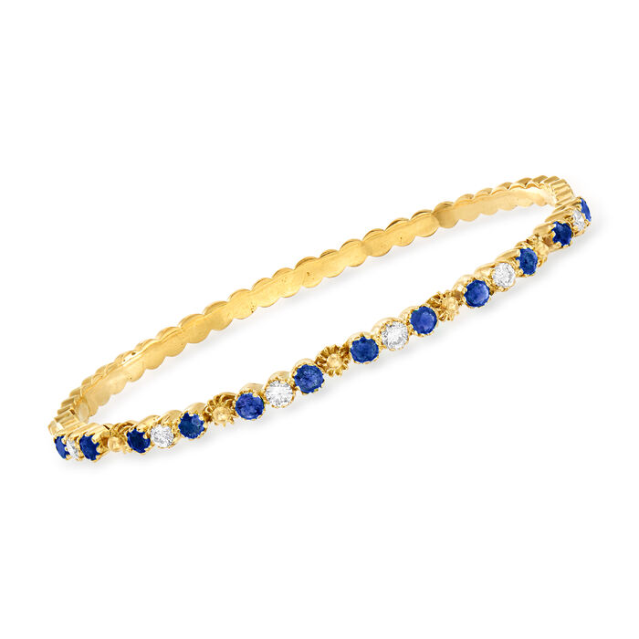 """C. 1980 Vintage 1.60 ct. t.w. Sapphire and .60 ct. t.w. Diamond Bracelet in 18kt Yellow Gold. 7"""", , default"""