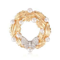 3-4mm Cultured Pearl and .30 ct. t.w. White Topaz Wreath Pin Pendant in 18kt Gold Over Sterling, , default