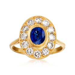 C. 1980 Vintage 1.00 Carat Sapphire and 1.00 ct. t.w. Diamond Ring in 18kt Yellow Gold. Size 6.75, , default