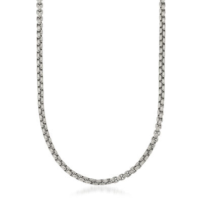 Men's 5.5mm Stainless Steel Box Chain Necklace, , default