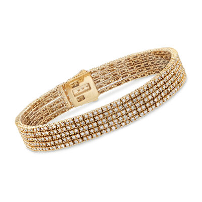5.00 ct. t.w. Diamond Five-Strand Bracelet in 14kt Yellow Gold, , default