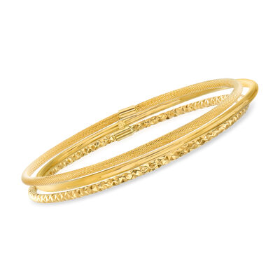 Italian 14kt Yellow Gold Multi-Finish Jewelry Set: Three Bangle Bracelets