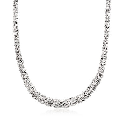 14kt White Gold Graduated Byzantine Necklace, , default
