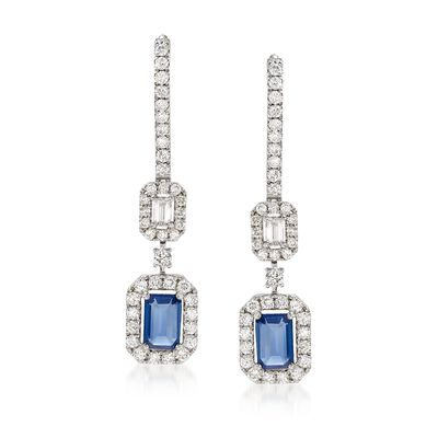 .97 ct. t.w. Diamond and .90 ct. t.w. Sapphire Drop Earrings in 18kt White Gold, , default