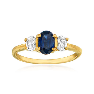 C. 1980 Vintage .90 Carat Sapphire and .60 ct. t.w. Diamond Ring in 14kt Yellow Gold