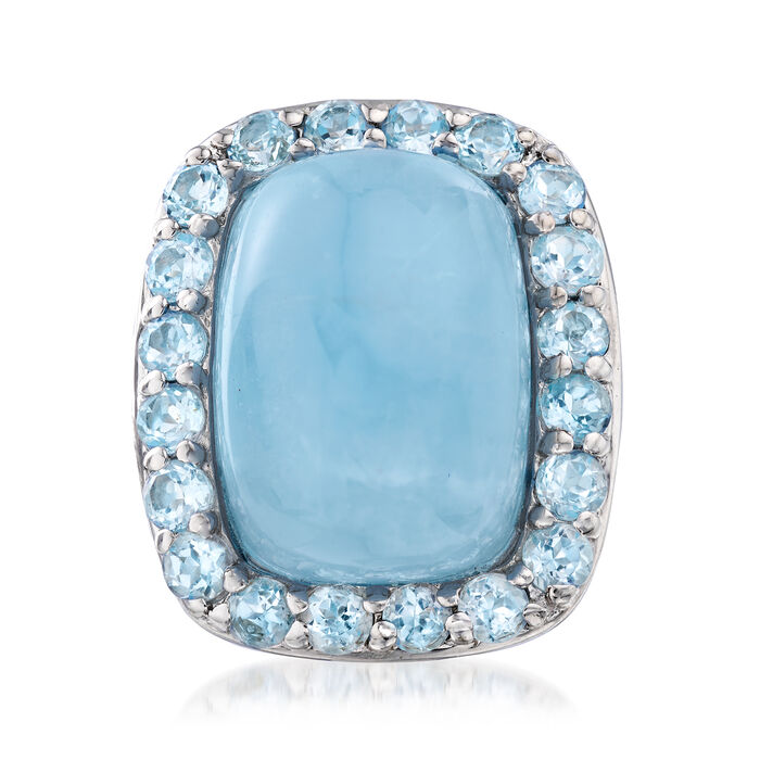 Milky Aquamarine and 2.60 ct. t.w. Blue Topaz Ring in Sterling Silver