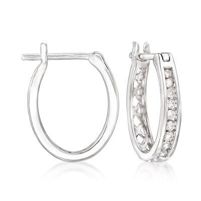 .25 ct. t.w. Diamond Hoop Earrings in 14kt White Gold, , default