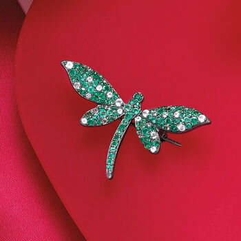 2.00 ct. t.w. Emerald and .70 ct. t.w. White Topaz Dragonfly Pin in Sterling Silver, , default
