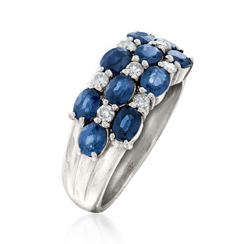 C. 1990 Vintage 2.00 ct. t.w. Sapphire and .20 ct. t.w. Diamond Checkerboard Ring in Platinum. Size 6, , default