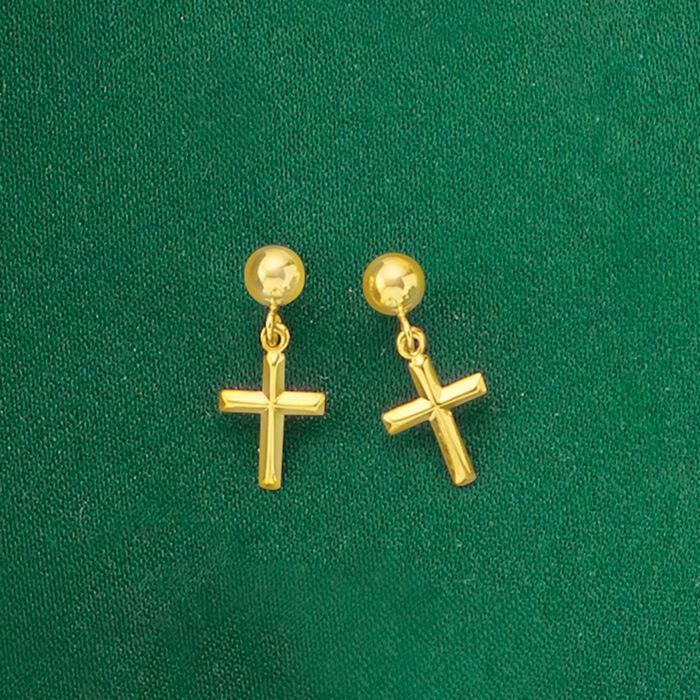 14kt Yellow Gold Small Cross Drop Earrings