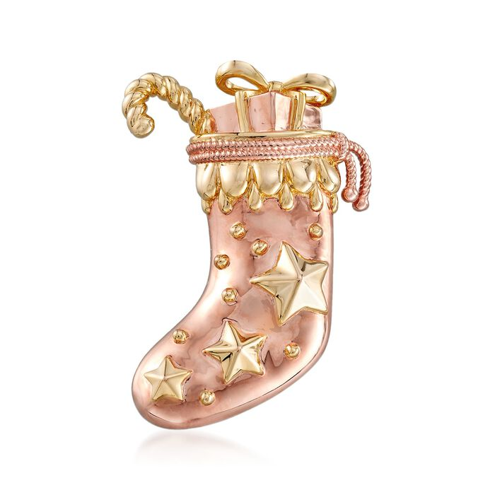 Stocking Pin Pendant in 18kt Yellow and Rose Gold Over Sterling Silver, , default