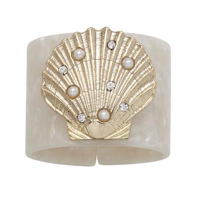 Joanna Buchanan Set of 4 Shell White Resin Napkin Rings