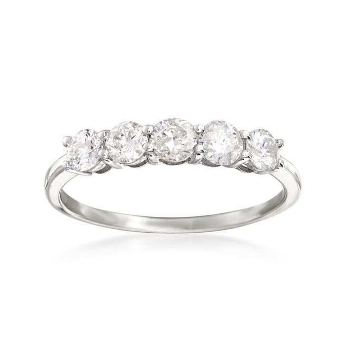 1.00 ct. t.w. Diamond Five-Stone Ring in 14kt White Gold, , default