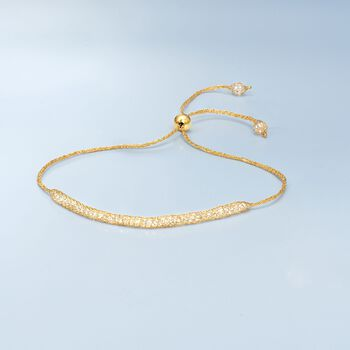 Italian 3.00 ct. t.w. CZ Mesh Bolo Bracelet in 14kt Yellow Gold, , default