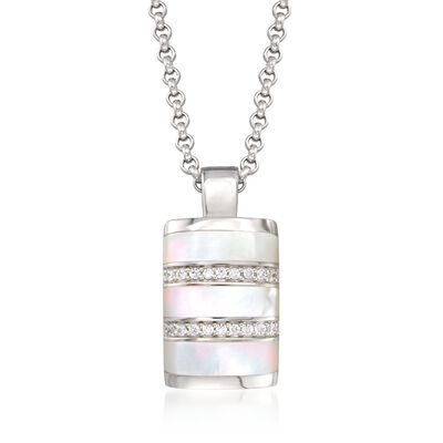 "Belle Etoile ""Regal"" Mother-Of-Pearl and .25 ct. t.w. CZ Pendant in Sterling Silver, , default"