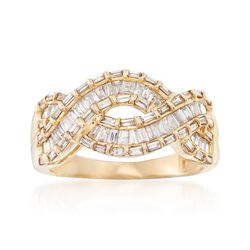 1.00 ct. t.w. Baguette Diamond Wave Ring in 14kt Yellow Gold, , default