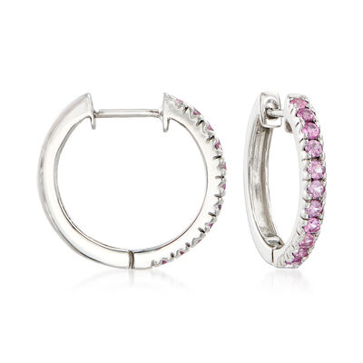 1.10 ct. t.w. Pink Sapphire Hoop Earrings in Sterling Silver, , default