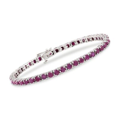 7.30 ct. t.w. Ruby Tennis Bracelet in Sterling Silver, , default