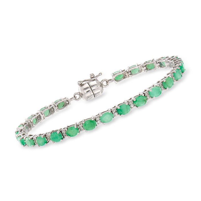 6.25 ct. t.w. Emerald and .20 ct. t.w. White Topaz Tennis Bracelet in Sterling Silver with Magnetic Clasp