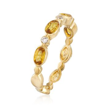 1.10 ct. t.w. Yellow Sapphire and Diamond Accent Ring in 14kt Yellow Gold. Size 8, , default