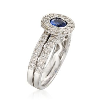 C. 2000 Vintage .90 Carat Sapphire and 1.00 ct. t.w. Diamonds in 18kt White Gold. Size 6, , default
