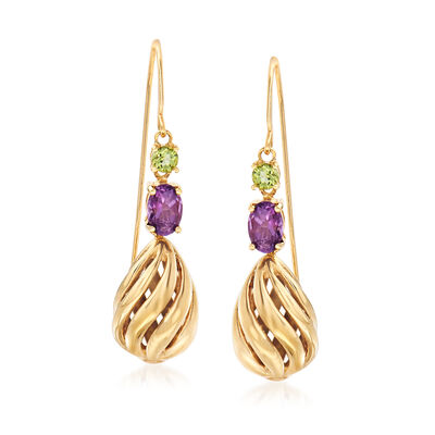 C. 2000 .80 ct. t.w. Amethyst and .20 ct. t.w. Peridot Drop Earrings in 14kt Yellow Gold, , default