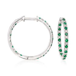 ".50 ct. t.w. Diamond and Emerald Inside-Outside Hoop Earrings in 14kt White Gold. 3/4"", , default"