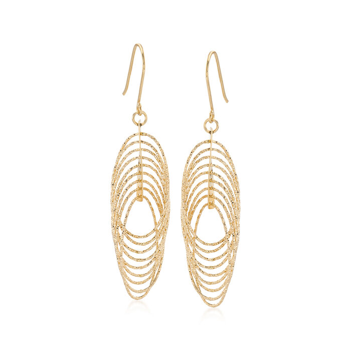 14kt Yellow Gold Textured and Polished Multi-Oval Drop Earrings