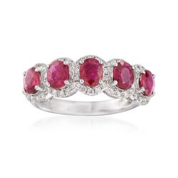 1.70 ct. t.w. Ruby and .44 ct. t.w. Diamond Five-Stone Ring in 18kt White Gold, , default