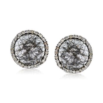 10.00 ct. t.w. Tourmalinated Quartz and .58 ct. t.w. Diamond Halo Earrings in Sterling Silver , , default