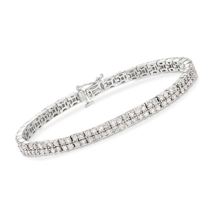 5.00 ct. t.w. Diamond Two-Row Bracelet in Sterling Silver