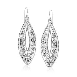 Sterling Silver Scrolled Marquise Drop Earrings, , default