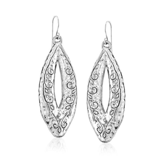 Sterling Silver Scrolled Marquise Drop Earrings, , default