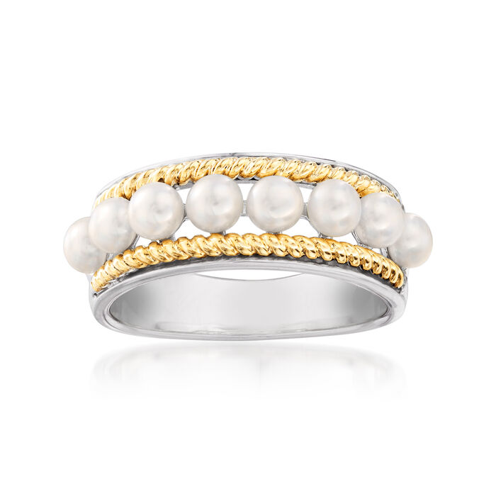 Cultured Pearl Ring in Sterling Silver and 14kt Yellow Gold, , default