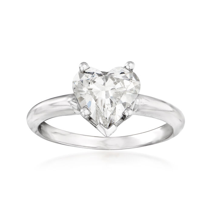 1.74 Carat Diamond Heart Solitaire Ring in 14kt White Gold
