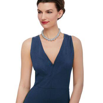"Italian Andiamo Sterling Silver Graduated Bead Necklace. 18"", , default"