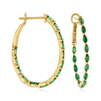 2.70 ct. t.w. Tsavorite Inside-Outside Hoop Earrings in 14kt Yellow Gold