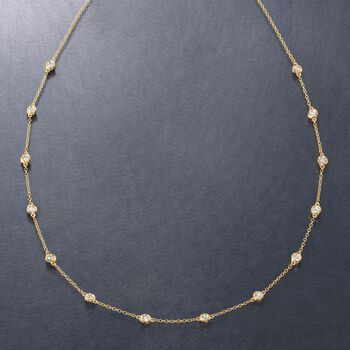 1.00 ct. t.w. Bezel-Set Diamond Station Necklace in 14kt Yellow Gold, , default