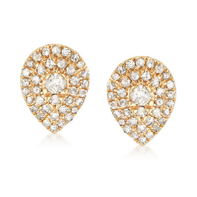 .50 ct. t.w. Diamond Cluster Pear-Shaped Earrings in 18kt Gold Over Sterling, , default