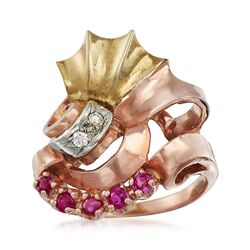 C. 1940 Vintage .35 ct. t.w. Ruby Swirl Ring With Diamond Accents in 14kt Tri-Colored Gold. Size 7, , default