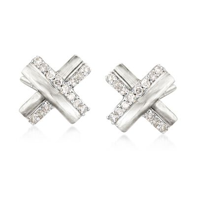 .10 ct. t.w. Diamond X Earrings in Sterling Silver