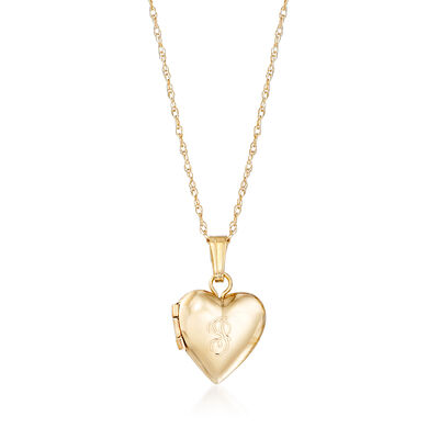Baby's 14kt Yellow Gold Single Initial Heart Locket Necklace, , default