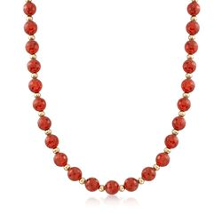 10mm Red Agate Bead Necklace With 14kt Yellow Gold, , default