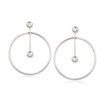Italian Sterling Silver Ball Bar and Circle Drop Earrings, , default