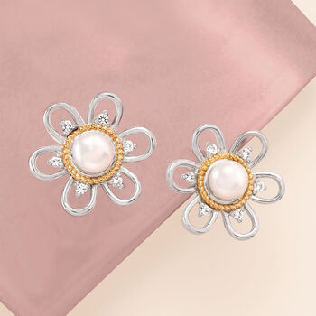 4.5mm Cultured Pearl and .10 ct. t.w. White Topaz Flower Earrings in Sterling Silver with 14kt Yellow Gold, , default