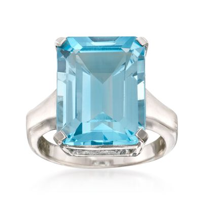 14.00 Carat Blue Topaz Ring in Sterling Silver, , default