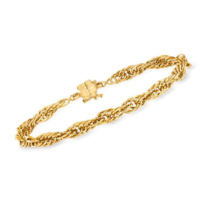14kt Yellow Gold Rope-Link Bracelet with Magnetic Clasp, , default