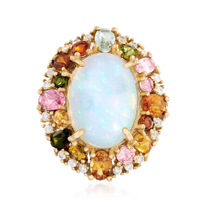 Ethiopian Opal, 3.70 ct. t.w. Multicolored Tourmaline and .30 ct. t.w. White Zircon Ring in 14kt Gold, , default