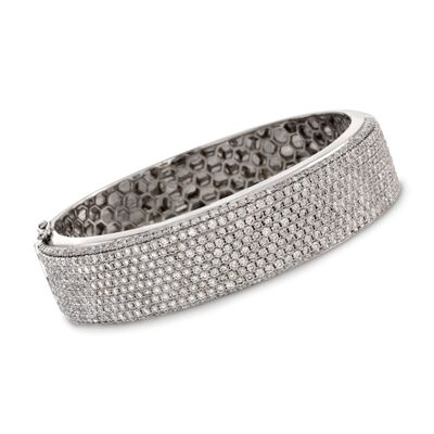 11.00 ct. t.w. Diamond Bangle Bracelet in 18kt White Gold